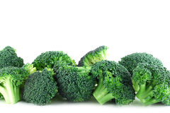 Broccoli pices in row on white. Fresh broccoli pieces in row isolated on white background Stock Photo