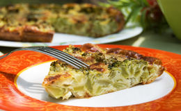 Broccoli pie. On a beautiful plate Royalty Free Stock Photo