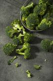 Broccoli pieces on a granite tabletop. Cooking preparation. Healthcare concept Stock Photography
