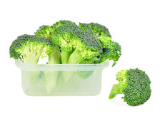 Broccoli in a plastic container. Stock Photos