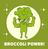 Broccoli power poster. Broccoli man. Cute kawaii cartoon person. Flat line design. Healthy vegan food character in sunglasses. Nat. Ural product sign. Vector vector illustration