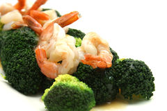 Broccoli with Prawn and Gravy Stock Photography