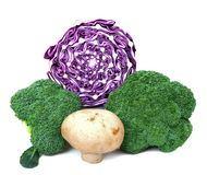 Broccoli, purple cabbage and mushroom Stock Photo
