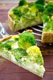 Broccoli quiche, tart with cheese and cream Stock Images