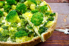 Broccoli quiche, tart with cheese and cream Royalty Free Stock Photo