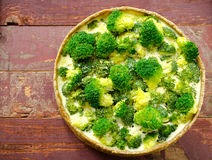 Broccoli quiche, tart with cheese and cream Royalty Free Stock Photos
