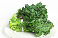 Broccoli Rabe. Fresh broccoli rabe greens on a white dish stock image