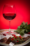 Broccoli Rabe Plate And Red Wine Stock Photography