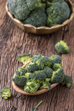 Broccoli.Raw fresh broccoli on old wooden table Royalty Free Stock Images