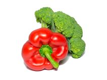 Broccoli and red bell pepper isolated on white. food, object. Stock Images