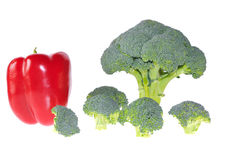 Broccoli and red pepper. Royalty Free Stock Photo