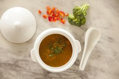 Broccoli and red pepper soup Stock Photo