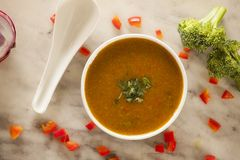 Broccoli and red pepper soup Royalty Free Stock Photo