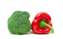 Broccoli and red pepper  on white background close-up Stock Photography