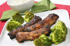 Broccoli with ribs and rice Royalty Free Stock Photos