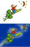 Broccoli rocket boy riding. Boy riding a broccoli rocket to a melon moon and cucumber stars. Feel free to edit these images Royalty Free Stock Image