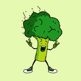 Broccoli rocks. Cool vegetable cartoon Stock Photos