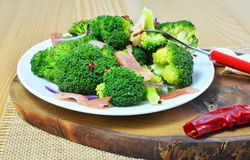 Broccoli salad with bacon, chilly and garlic Stock Image