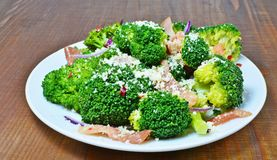 Broccoli salad with bacon, parmesan and garlic Stock Images