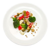 Broccoli salad with bell peppers in plate Royalty Free Stock Photo