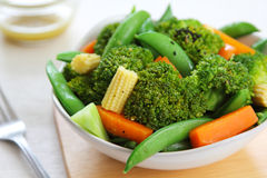 Broccoli salad with carrot ,baby corn and snap pea Royalty Free Stock Photography