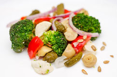 Broccoli salad close-up Stock Images