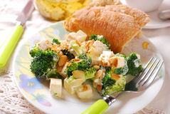 Broccoli salad with feta and almonds Royalty Free Stock Images