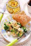Broccoli salad with feta and almonds Stock Photography