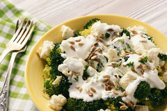 Broccoli salad with feta cheese, garlic dressing and sunflower seeds. Stock Image