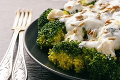 Broccoli salad with feta cheese, garlic dressing and sunflower seeds. Stock Photography