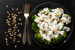 Broccoli salad with feta cheese, garlic dressing and sunflower seeds. Royalty Free Stock Photo