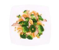 Broccoli salad with mandarin. Royalty Free Stock Image