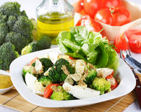 Broccoli salad with tomatoes and eggs Stock Image