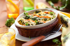 Broccoli and salmon  gratin Stock Photography