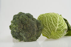 Broccoli and Savoy cabbage Royalty Free Stock Images