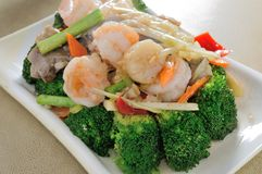 Broccoli scallop Shrimp Stock Images