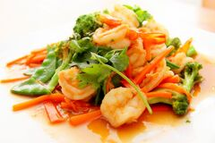 Broccoli Shrimp and Carrots Food on Tray Royalty Free Stock Photography