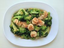 Broccoli shrimp on dish Stock Image