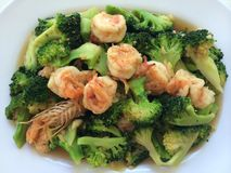 Broccoli shrimp on dish. Broccoli shrimp puff side dish Royalty Free Stock Images