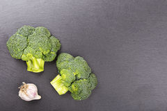 Broccoli on slate boerd Stock Photo