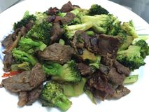 Broccoli and slices meat Royalty Free Stock Images