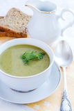 Broccoli soup. Broccoli green fresh cream soup Royalty Free Stock Photo