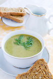 Broccoli soup. Broccoli green fresh cream soup Royalty Free Stock Image