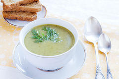 Broccoli soup. Broccoli green fresh cream soup Stock Image