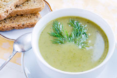 Broccoli soup. Broccoli green fresh cream soup Stock Photography