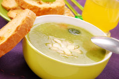 Broccoli soup with almonds Stock Images
