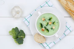 Broccoli soup in bowl from above Stock Images