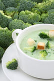 Broccoli soup in bowl closeup Royalty Free Stock Image