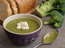 Broccoli soup and bread Royalty Free Stock Photo