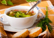 Broccoli soup and carrots, bread Stock Photos